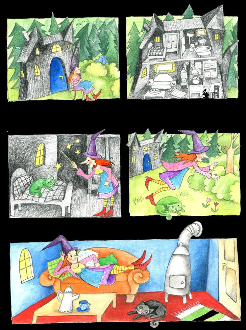 Hexe,Schloss,Zauberei,Katze,Winnie,http://www.hoppe-engbring-illustration.com/