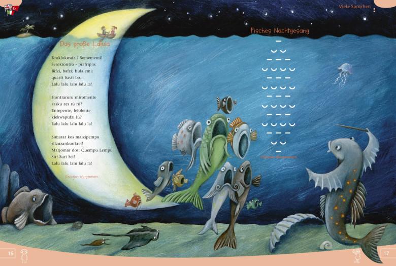 http://www.hoppe-engbring-illustration.com/,Morgenstern,Das große Lalula,Fisches Nachtgesang,Mond,Fische, Konzert,Insel,Dirigent