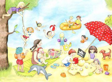 http://www.hoppe-engbring-illustration.com/,Badesee,Sonnenschirm,Sandburg,schwimmen